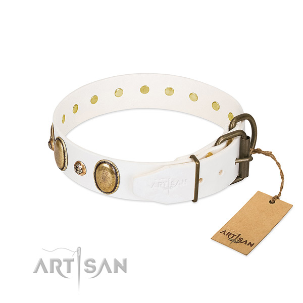 Comfortable wearing natural genuine leather dog collar