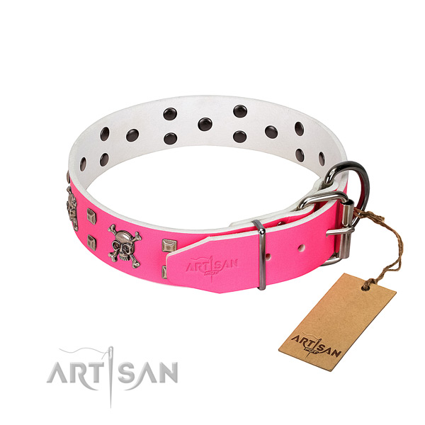 Durable adornments on genuine leather dog collar
