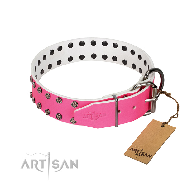 Best quality genuine leather dog collar with studs for your pet