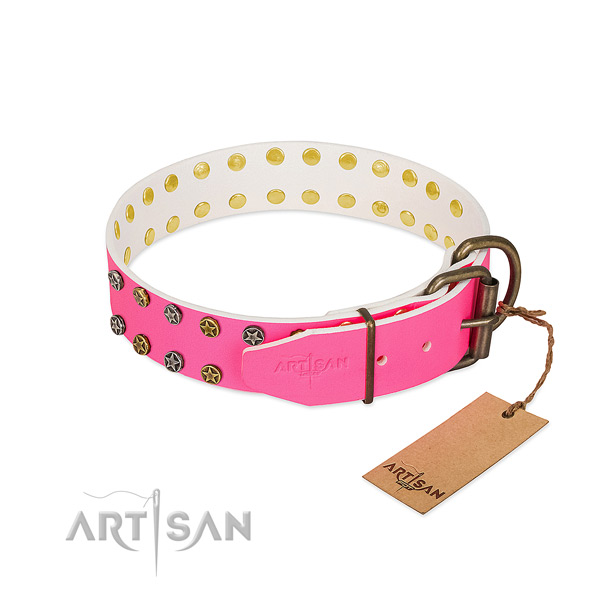 Soft full grain leather collar with embellishments for your pet