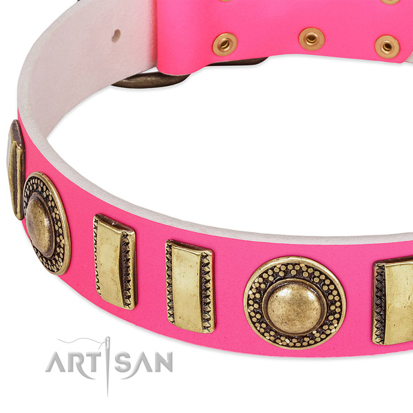 Reliable full grain genuine leather dog collar for your beautiful dog