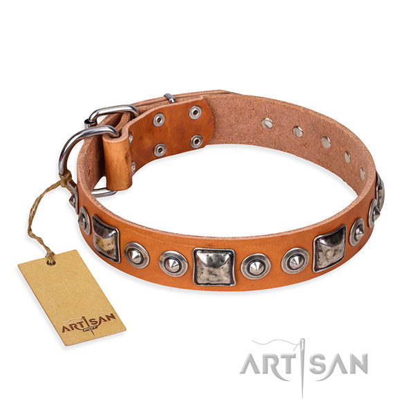 Full grain genuine leather dog collar made of high quality material with corrosion resistant D-ring