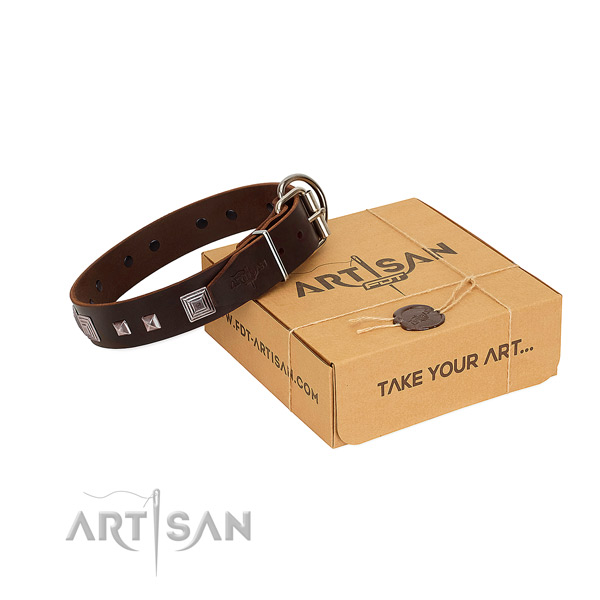 Exquisite full grain genuine leather collar with studs for your dog