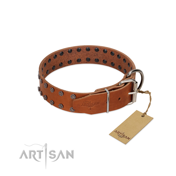 Soft to touch full grain natural leather dog collar with embellishments for your doggie