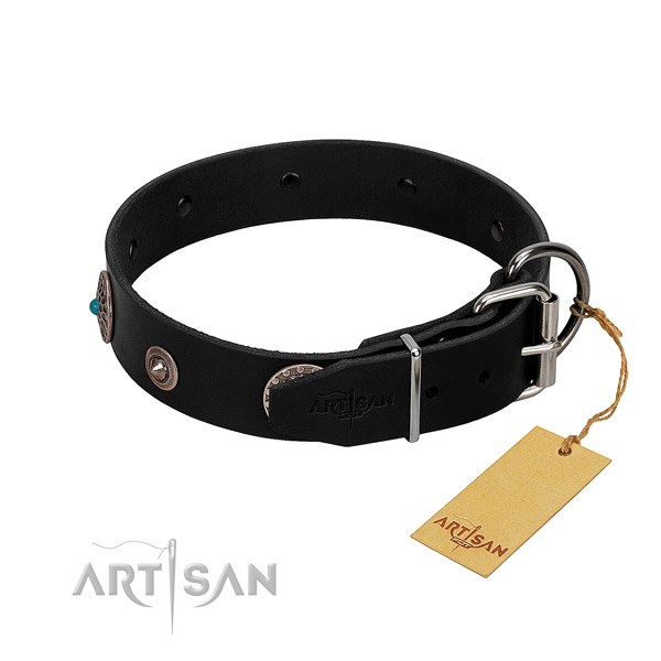 Top notch adorned full grain natural leather dog collar