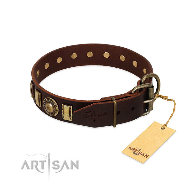 Embellished full grain natural leather dog collar with reliable traditional buckle
