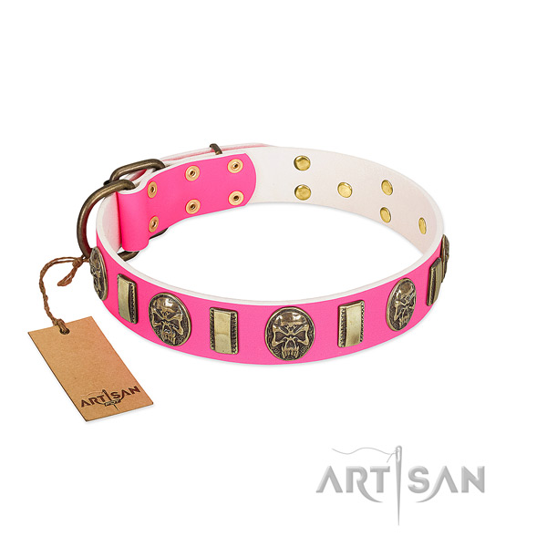 Reliable traditional buckle on full grain genuine leather dog collar for your dog
