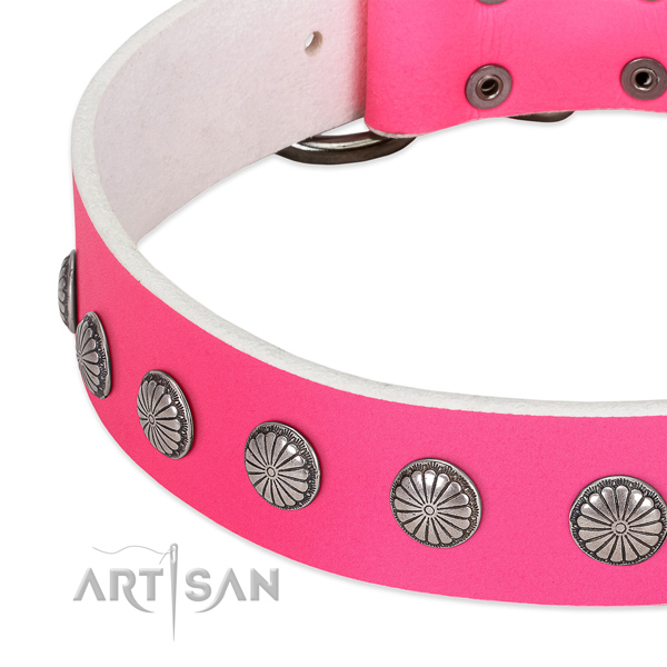Soft genuine leather dog collar with decorations for your beautiful pet