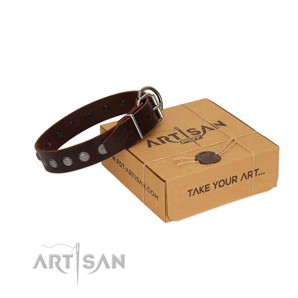 Handy use natural leather dog collar with remarkable embellishments