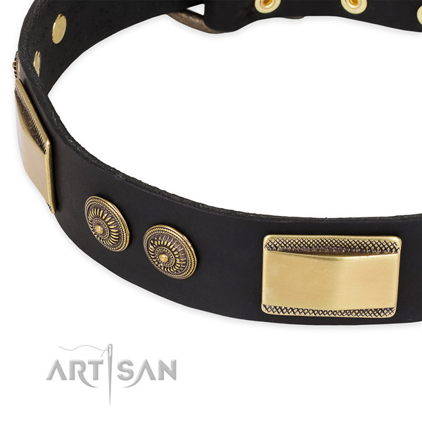 Comfortable genuine leather collar for your attractive doggie