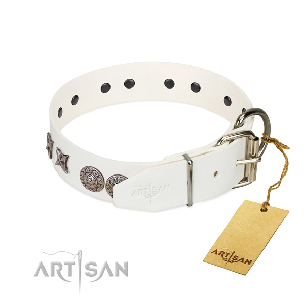 Comfy wearing top rate full grain genuine leather dog collar with adornments