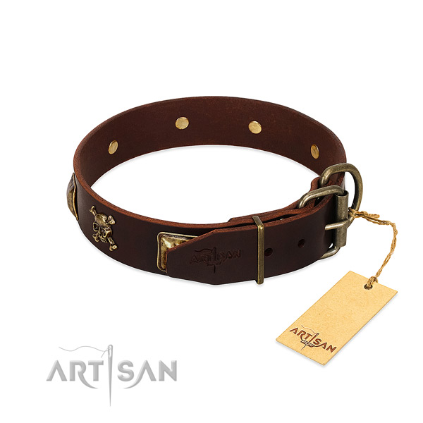 Flexible full grain leather dog collar with remarkable adornments