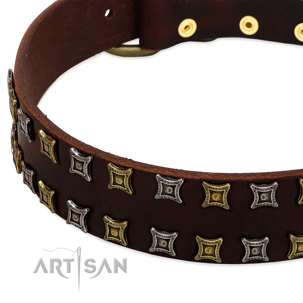Gentle to touch full grain genuine leather dog collar for your lovely four-legged friend