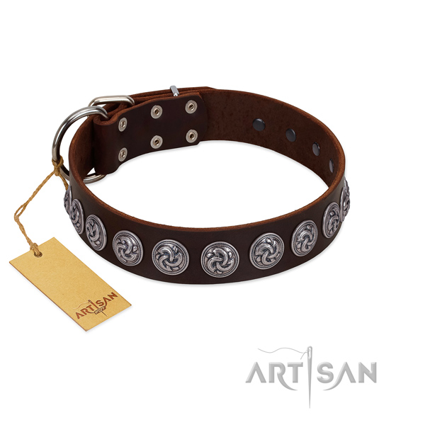 Strong D-ring on adorned full grain genuine leather dog collar