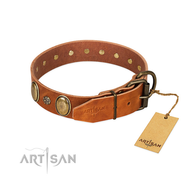 Comfortable wearing top rate genuine leather dog collar