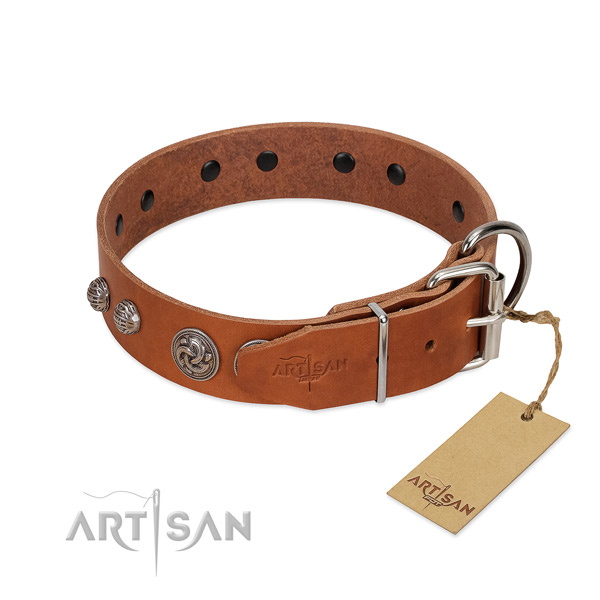Rust resistant hardware on natural genuine leather dog collar for your doggie