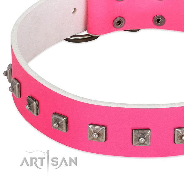 Top rate full grain leather dog collar with remarkable decorations