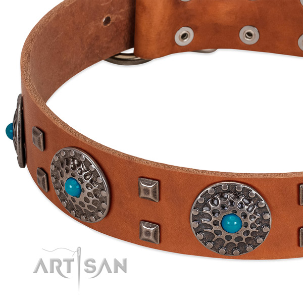 Soft full grain leather dog collar with remarkable decorations