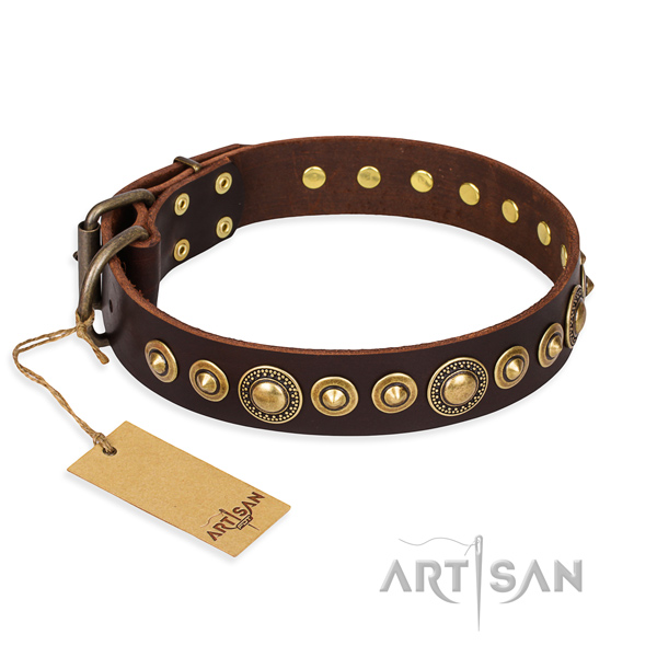 Gentle to touch natural genuine leather collar crafted for your dog