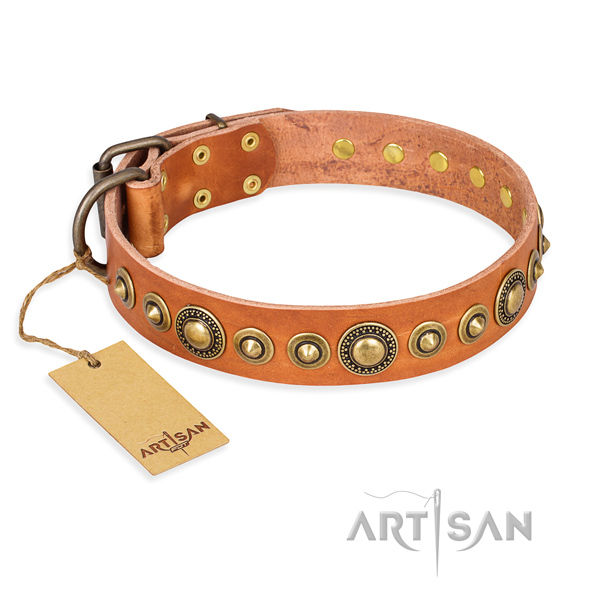 Durable full grain leather collar crafted for your doggie