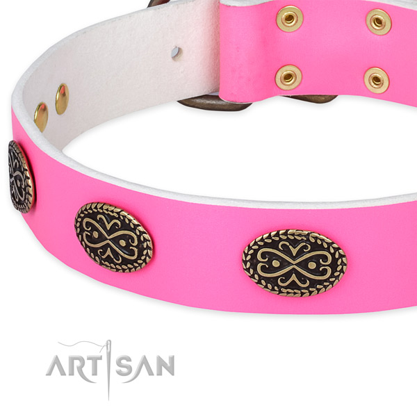 Natural genuine leather dog collar with adornments for comfy wearing