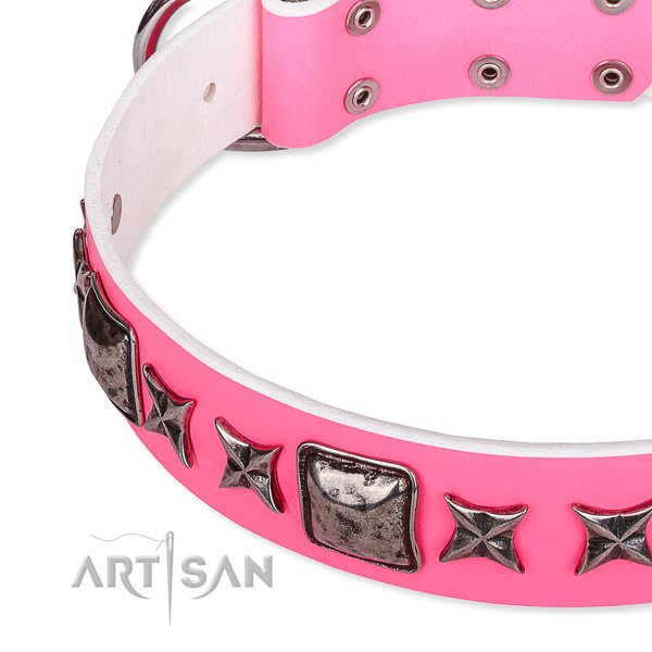 Handy use embellished dog collar of quality full grain genuine leather