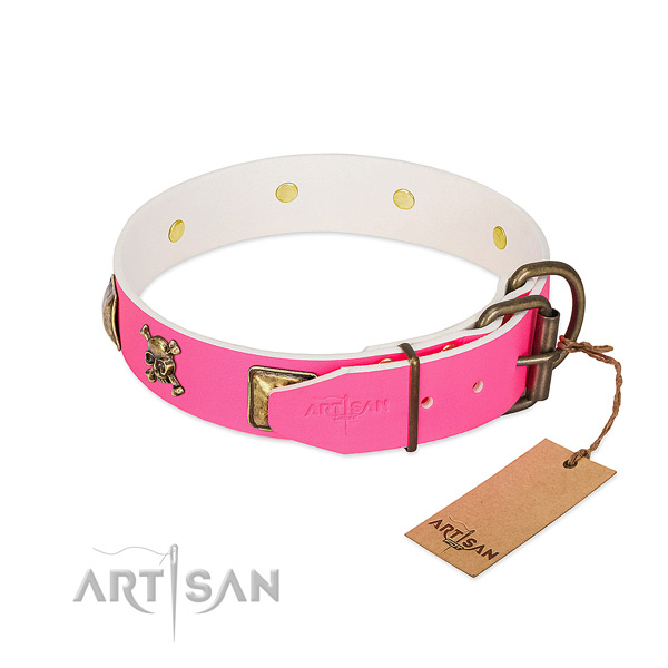 Natural leather dog collar with strong D-ring for stylish walking