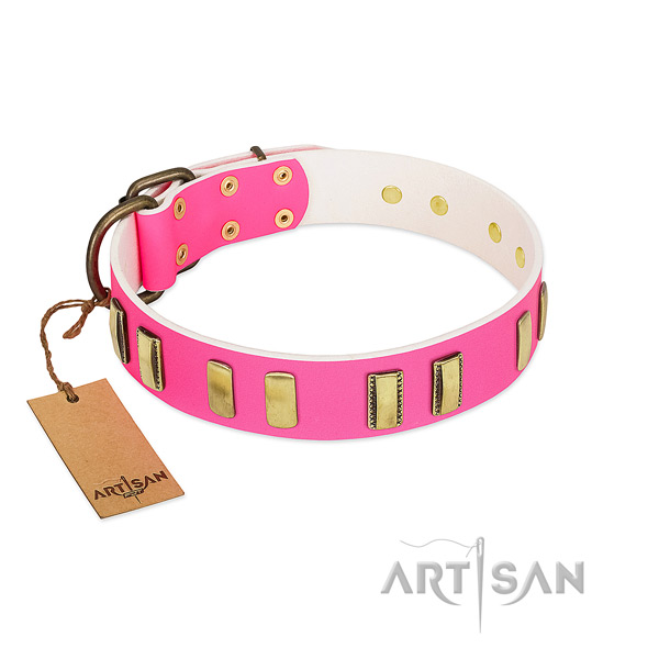 Soft leather dog collar with decorations for walking
