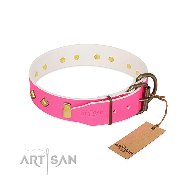Genuine leather dog collar with corrosion resistant fittings for comfy wearing
