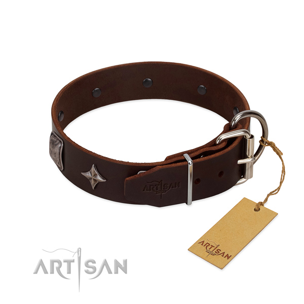 Reliable natural leather dog collar with stunning adornments
