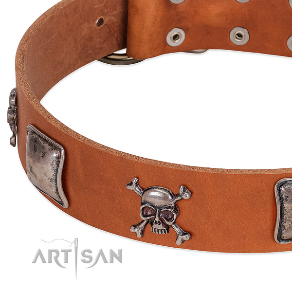 Strong decorations on genuine leather dog collar