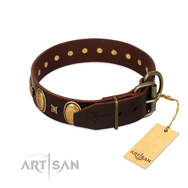 Gentle to touch genuine leather collar crafted for your canine