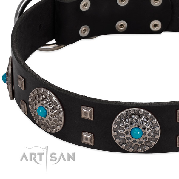 Reliable full grain genuine leather dog collar with trendy embellishments