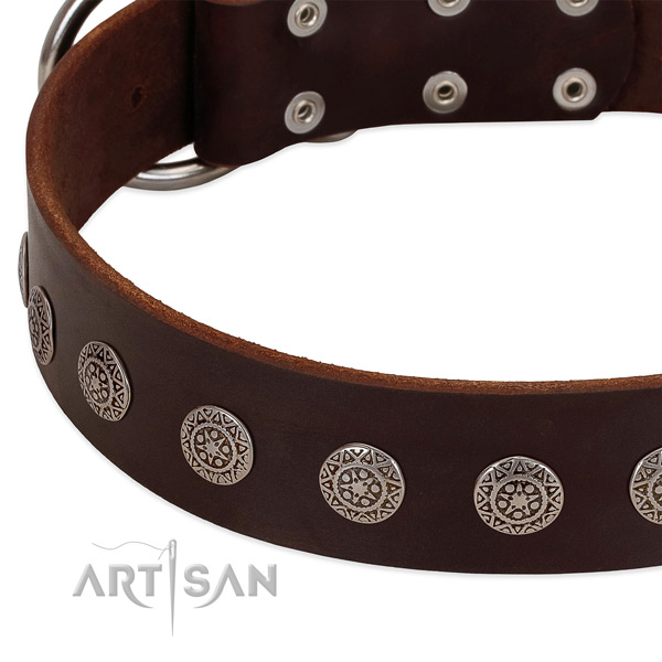 Easy to adjust dog collar of genuine leather with adornments