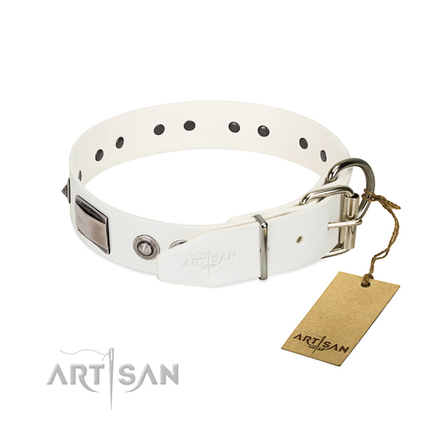 Easy to adjust dog collar of full grain genuine leather with embellishments