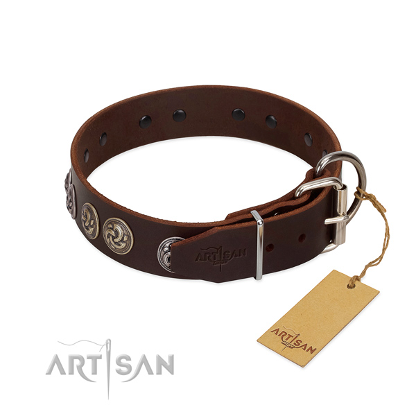 Durable hardware on significant leather dog collar