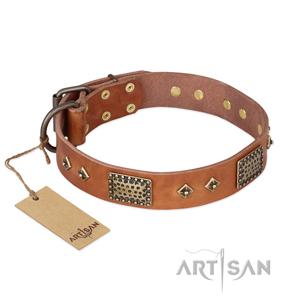 Incredible genuine leather dog collar for easy wearing