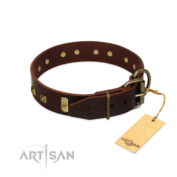 Reliable full grain genuine leather dog collar with durable fittings
