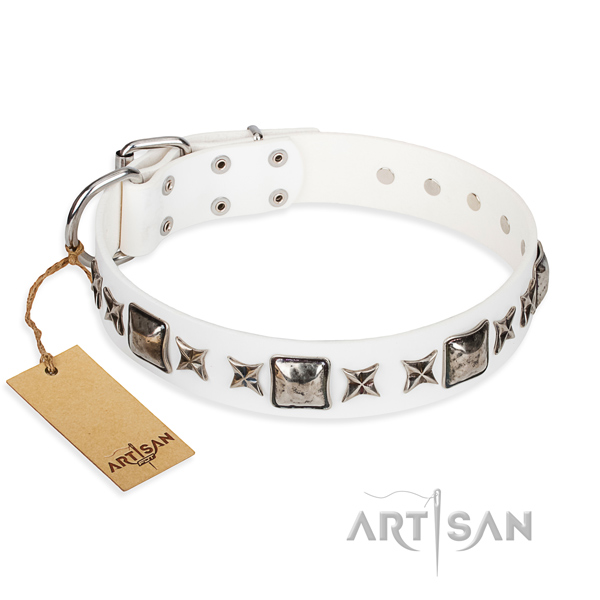 Full grain genuine leather dog collar made of soft material with durable traditional buckle