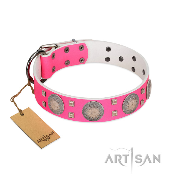 Fashionable natural leather dog collar with corrosion resistant traditional buckle