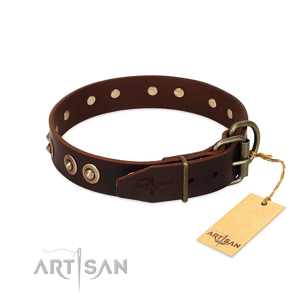Rust resistant traditional buckle on genuine leather dog collar for your dog
