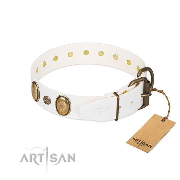 Comfortable wearing flexible full grain leather dog collar with studs