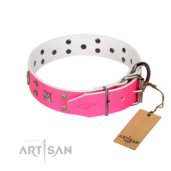 Rust-proof fittings on genuine leather dog collar for your four-legged friend
