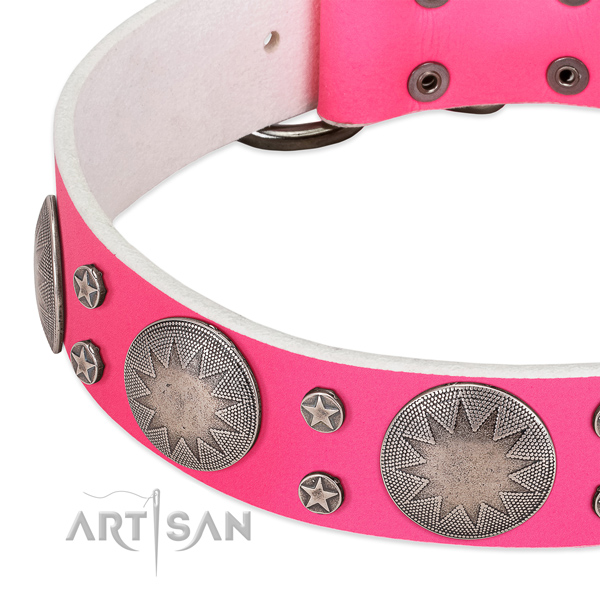 Soft to touch genuine leather dog collar for your stylish canine