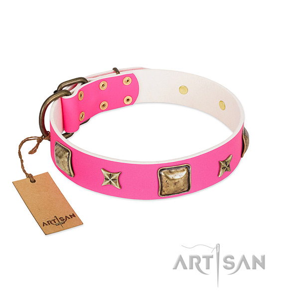 Full grain natural leather dog collar of reliable material with exquisite decorations