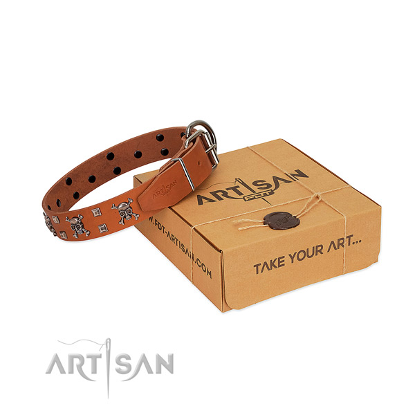 Best quality leather dog collar with corrosion resistant hardware