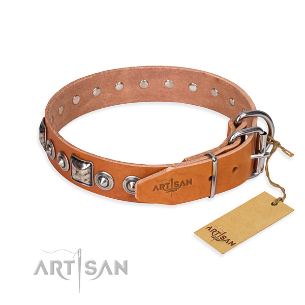 Leather dog collar made of reliable material with durable adornments