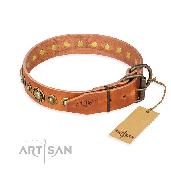 Top rate genuine leather dog collar handcrafted for basic training