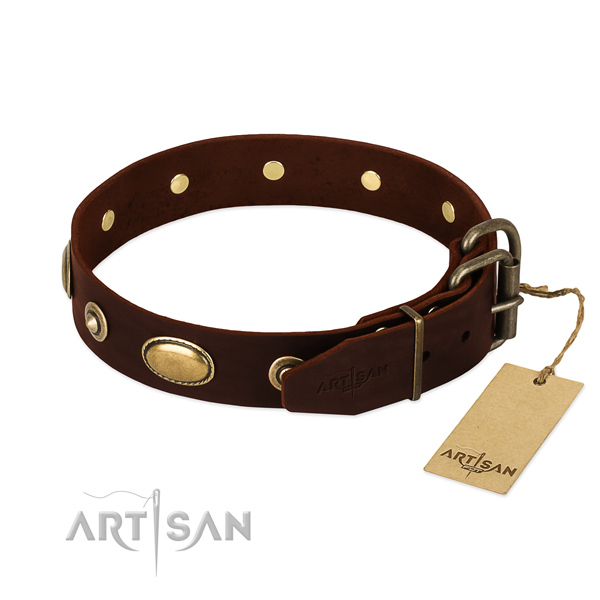 Durable D-ring on full grain natural leather dog collar for your pet