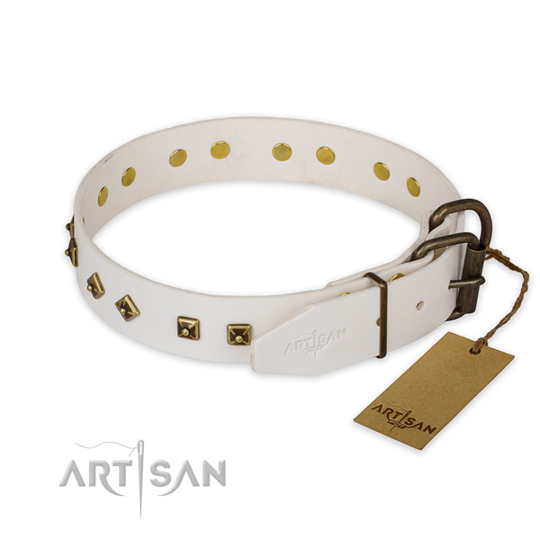 Durable hardware on leather collar for fancy walking your dog